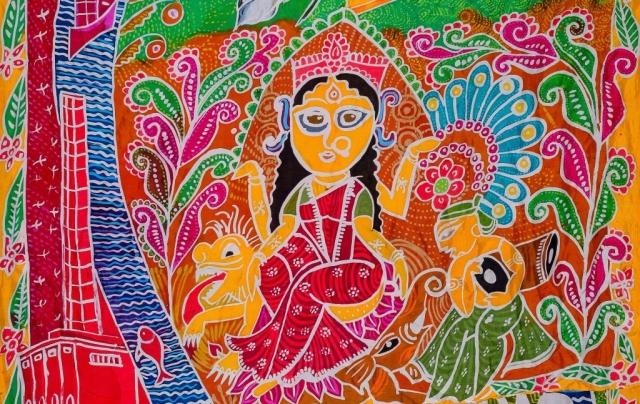 Close up of Chandanagore Silk Scroll