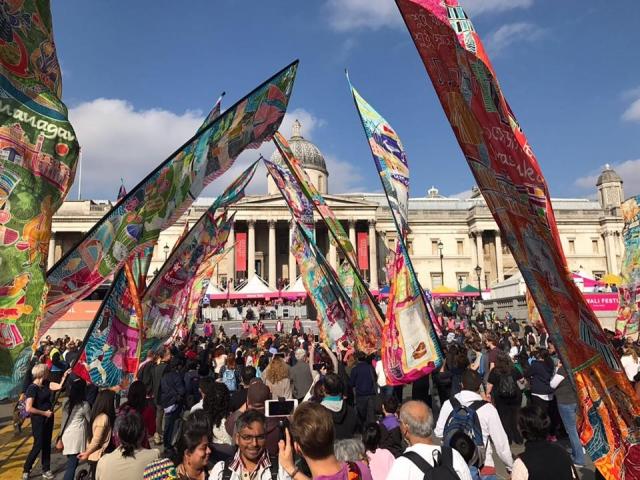Silk River at Diwali Trafalgar Square London