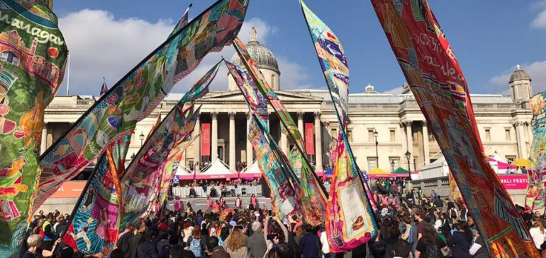 Silk River flies Thurrock flag at Trafalgar Square Diwali celebration