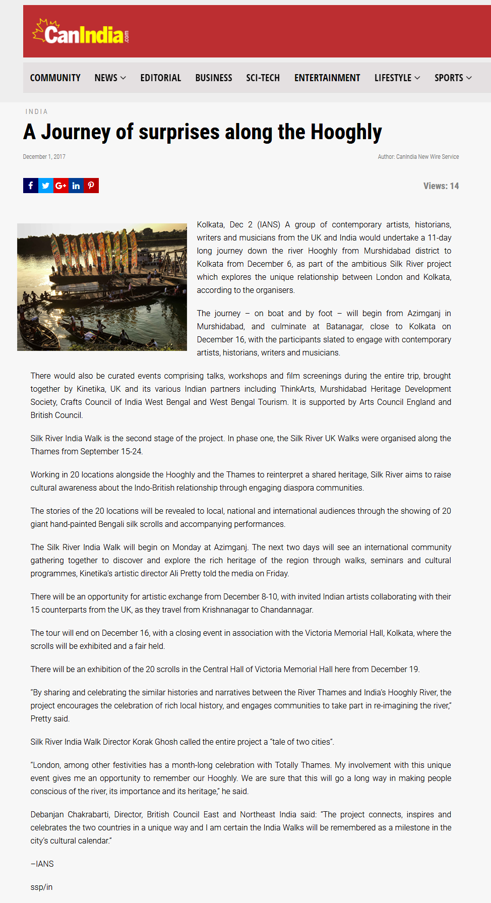 CanIndia article - a journey of surprises along the Hooghly